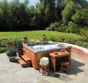 cedar hot tub on patio picture
